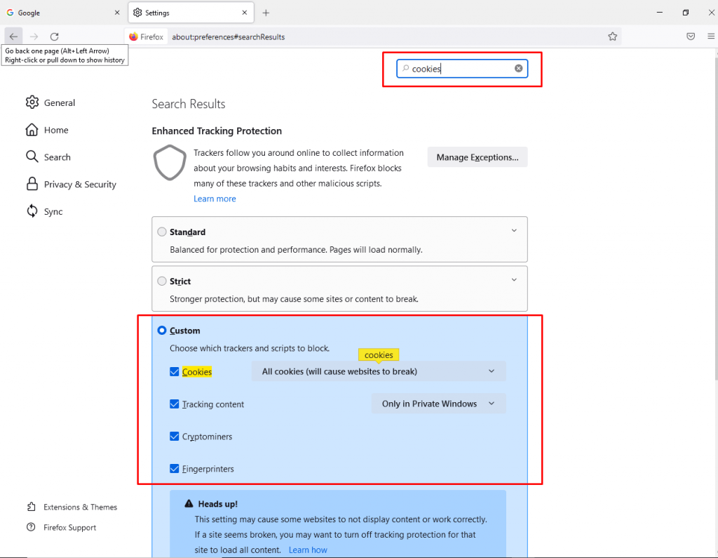 Shortcut to enable cookies on firefox